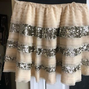 Free people cream and gold sequin skirt
